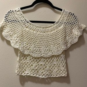 Knitted off the shoulder crop top